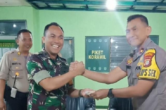 Polsek Cempaka Putih Silaturahmi Koramil Dalam Rangka HUT TNI Ke-74